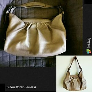Auth FENDI Borsa Doctor B leather hobo shoulderbag